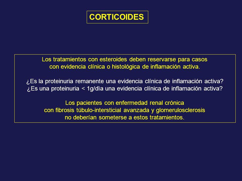 CORTICOIDES Los tratamientos con esteroides deben reservarse para casos. con evidencia clínica o histológica de inflamación activa.