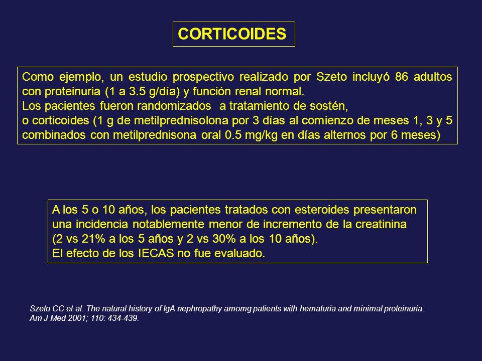CORTICOIDES Como ejemplo, un estudio prospectivo realizado por Szeto incluyó 86 adultos con proteinuria (1 a 3.5 g/día) y función renal normal.