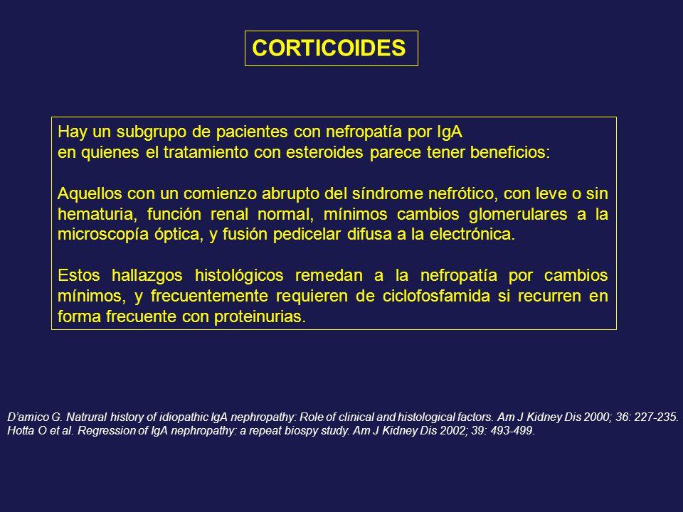 CORTICOIDES Hay un subgrupo de pacientes con nefropatía por IgA