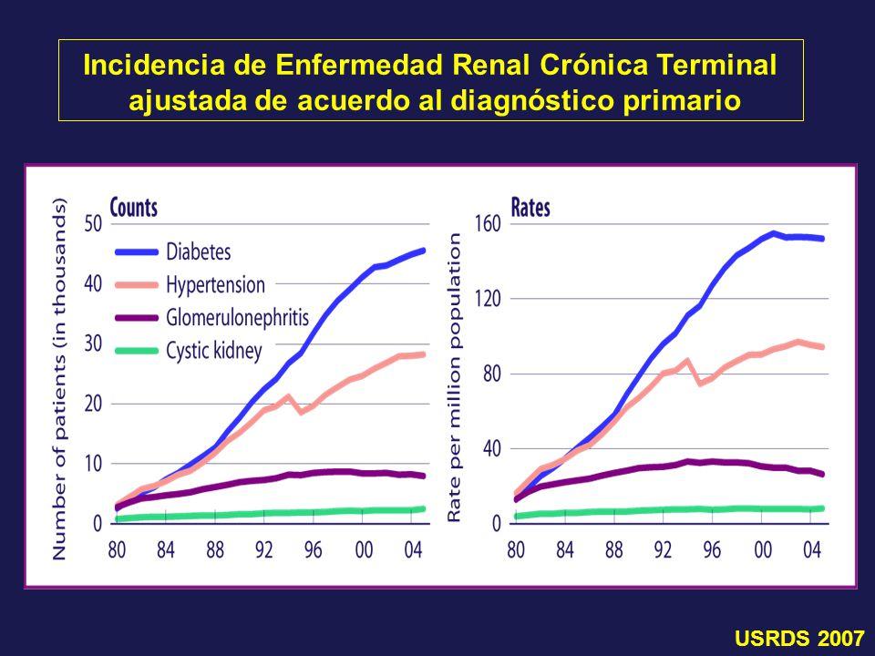 Incidencia de Enfermedad Renal Crónica Terminal ajustada de acuerdo al diagnóstico primario