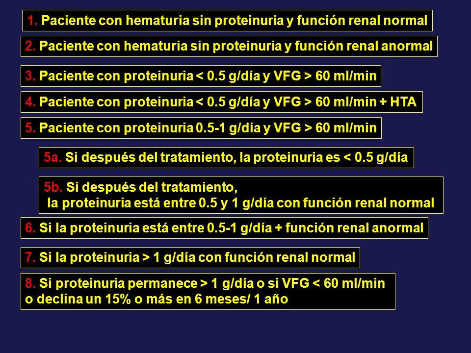1. Paciente con hematuria sin proteinuria y función renal normal