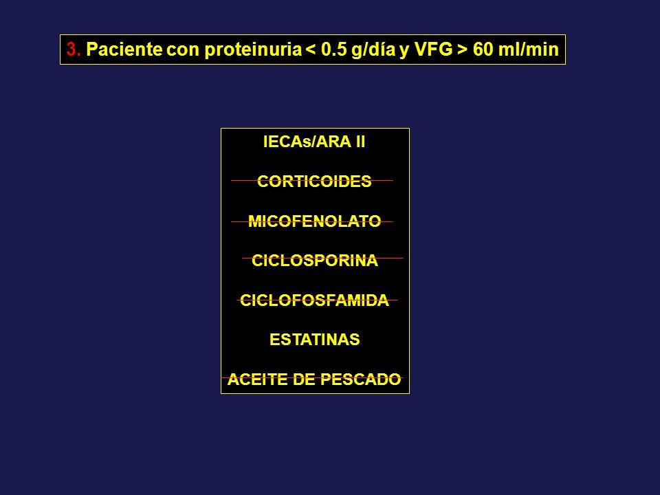 3. Paciente con proteinuria < 0.5 g/día y VFG > 60 ml/min
