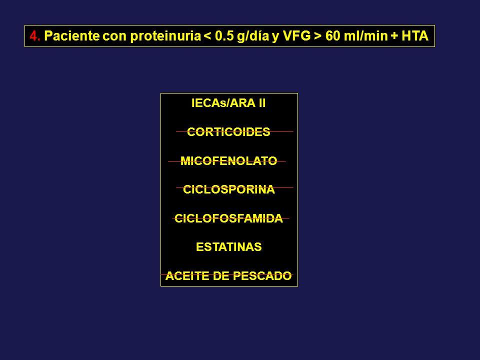 4. Paciente con proteinuria < 0.5 g/día y VFG > 60 ml/min + HTA
