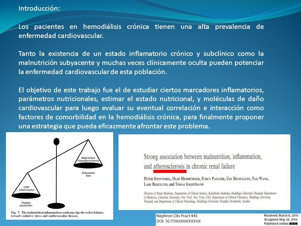Introducción: Los pacientes en hemodiálisis crónica tienen una alta prevalencia de enfermedad cardiovascular.