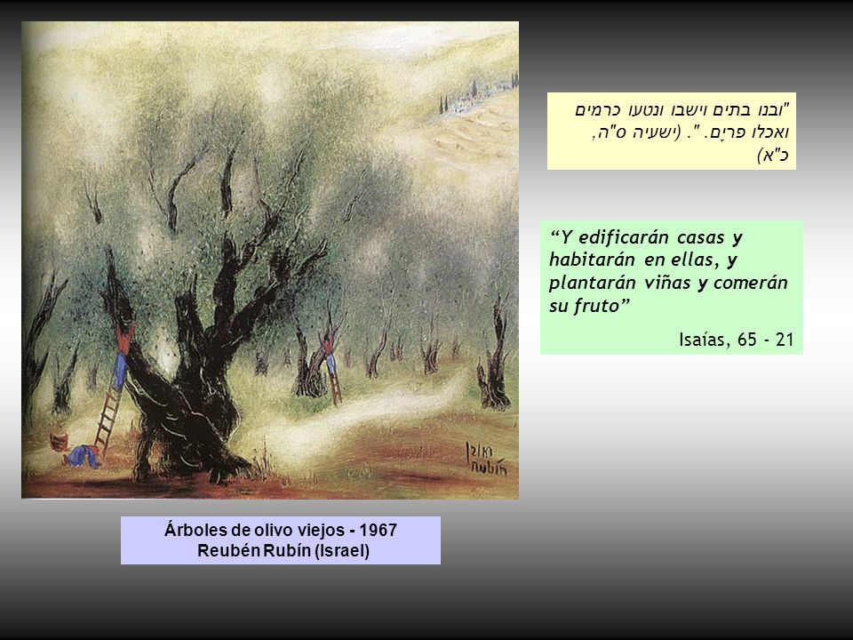 Árboles de olivo viejos - 1967 Reubén Rubín (Israel)