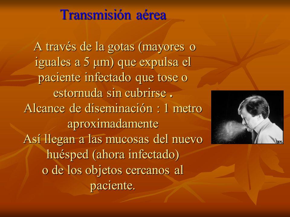 Transmisión aérea A través de la gotas (mayores o iguales a 5 μm) que expulsa el paciente infectado que tose o estornuda sin cubrirse .