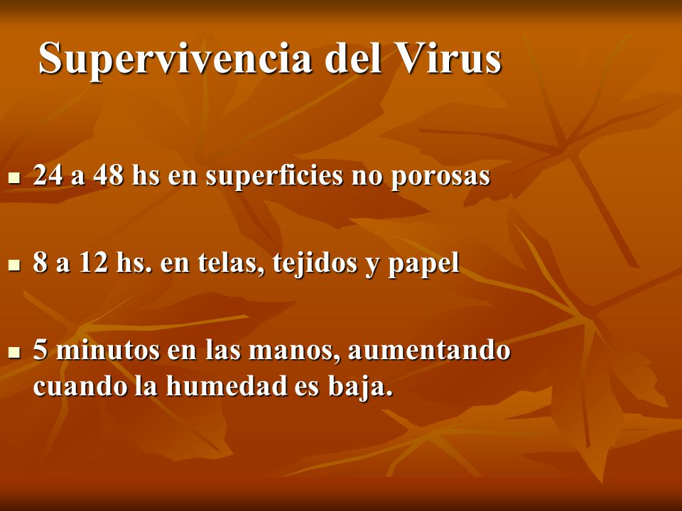 Supervivencia del Virus