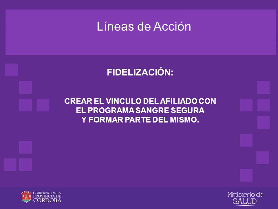 Líneas de Acción FIDELIZACIÓN: CREAR EL VINCULO DEL AFILIADO CON