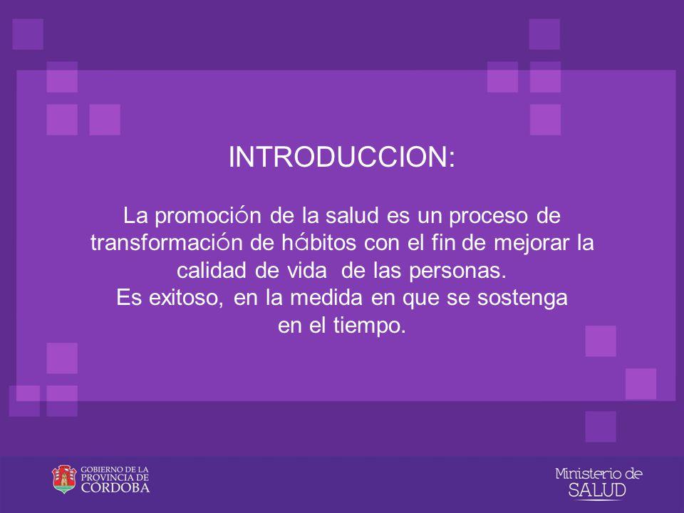 INTRODUCCION: La promoción de la salud es un proceso de