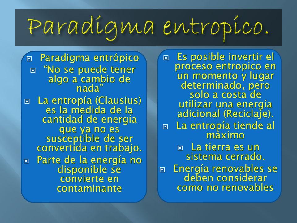 Paradigma entropico.Paradigma entrópico. No se puede tener algo a cambio de nada
