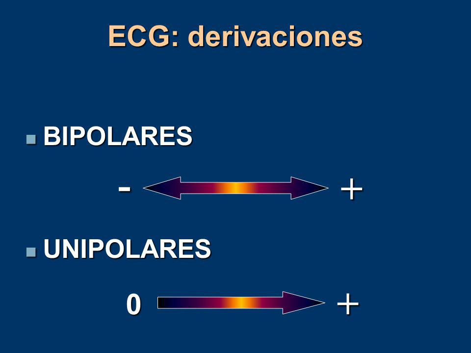 ECG: derivaciones BIPOLARES UNIPOLARES - + +