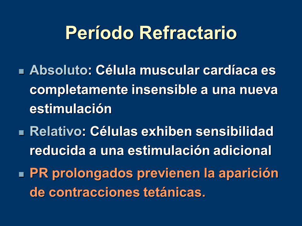 Período Refractario Absoluto: Célula muscular cardíaca es completamente insensible a una nueva estimulación.