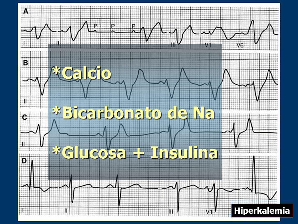 *Calcio *Bicarbonato de Na *Glucosa + Insulina Hiperkalemia