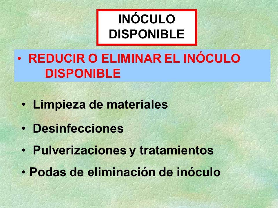 INÓCULO DISPONIBLE REDUCIR O ELIMINAR EL INÓCULO DISPONIBLE. Limpieza de materiales. Desinfecciones.