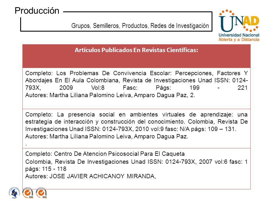 Artículos Publicados En Revistas Científicas: