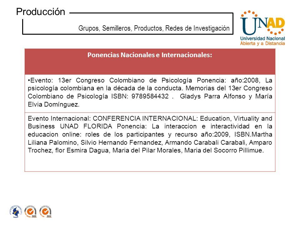 Ponencias Nacionales e Internacionales: