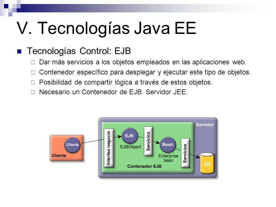 V. Tecnologías Java EE Tecnologías Control: EJB