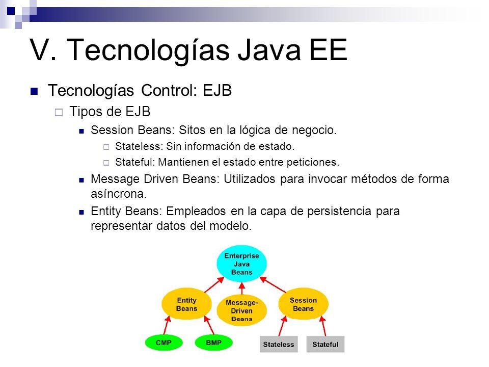 V. Tecnologías Java EE Tecnologías Control: EJB Tipos de EJB