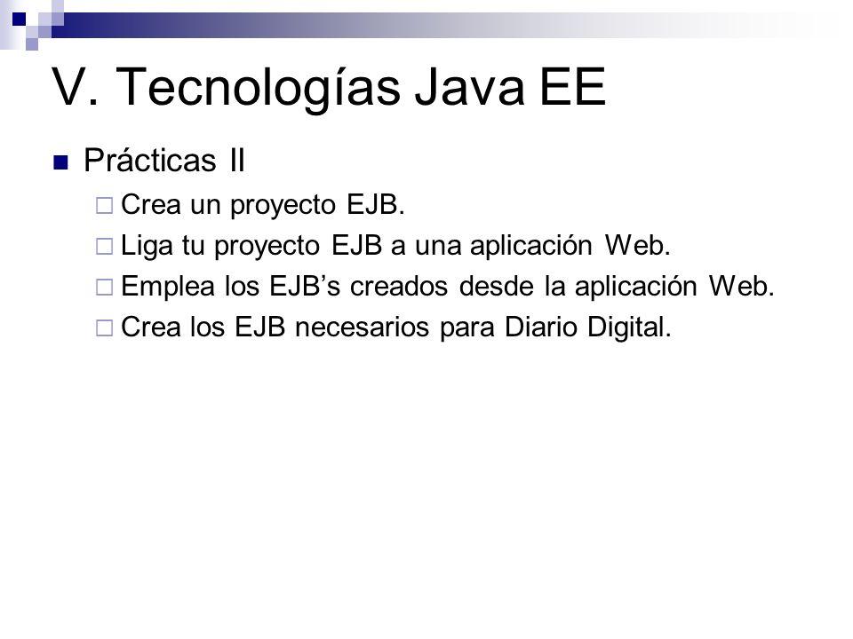 V. Tecnologías Java EE Prácticas II Crea un proyecto EJB.