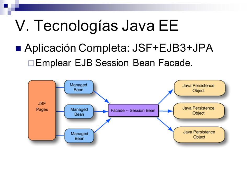 V. Tecnologías Java EE Aplicación Completa: JSF+EJB3+JPA