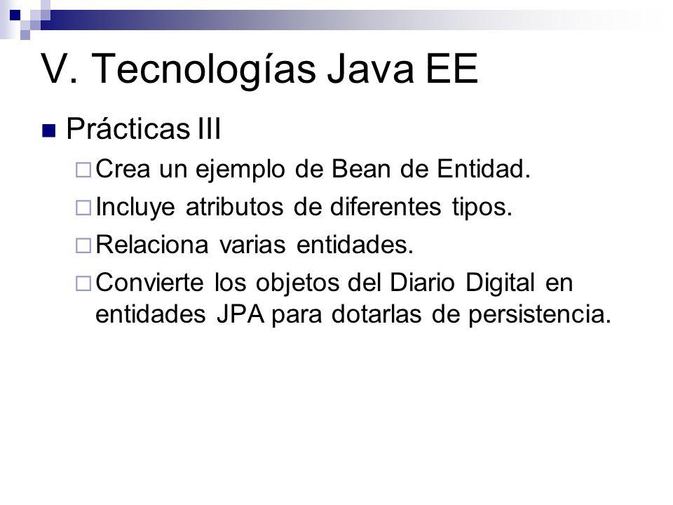 V. Tecnologías Java EE Prácticas III