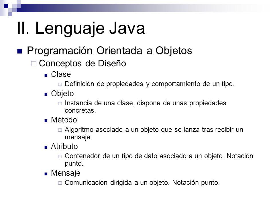 II. Lenguaje Java Programación Orientada a Objetos Conceptos de Diseño