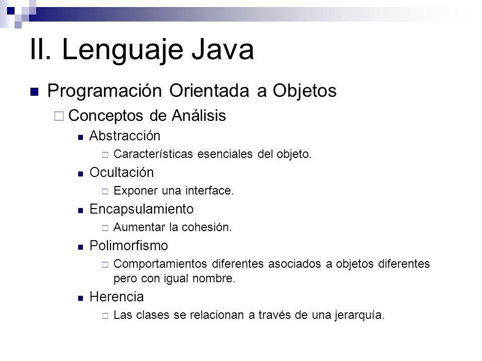 II. Lenguaje Java Programación Orientada a Objetos