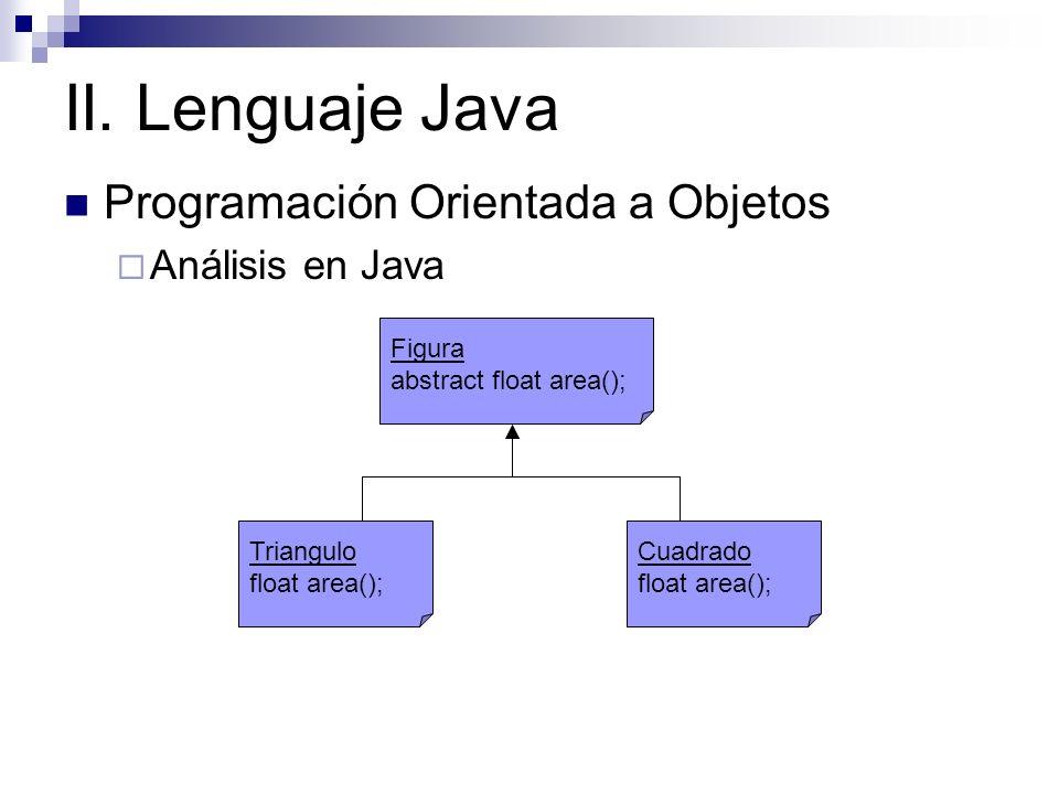 II. Lenguaje Java Programación Orientada a Objetos Análisis en Java