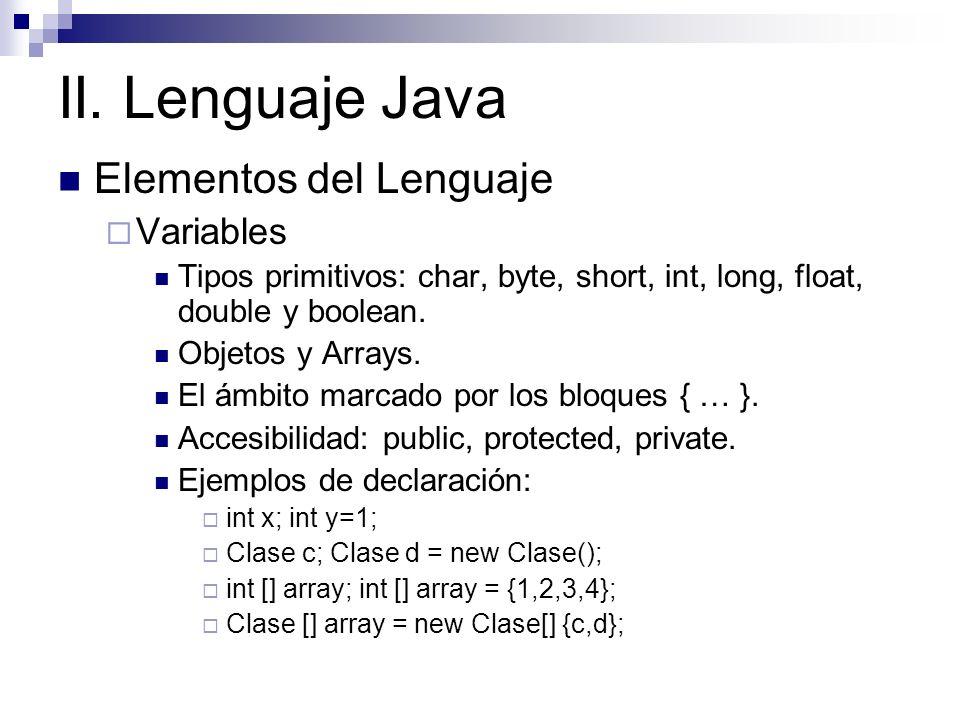 II. Lenguaje Java Elementos del Lenguaje Variables