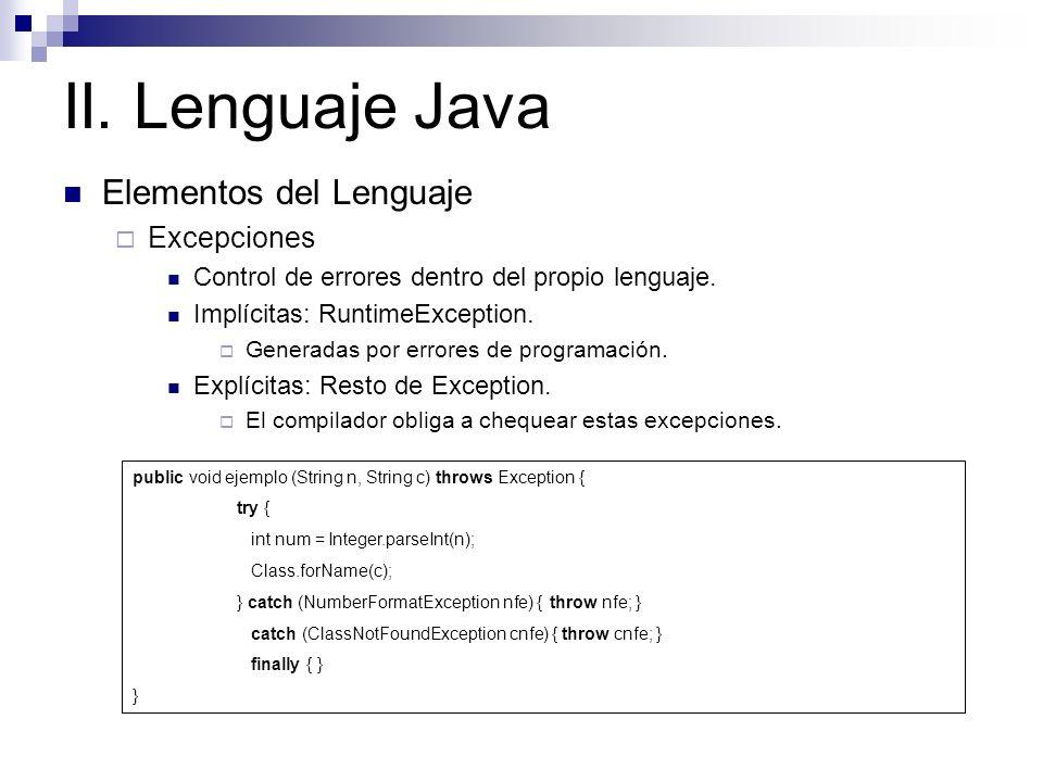 II. Lenguaje Java Elementos del Lenguaje Excepciones