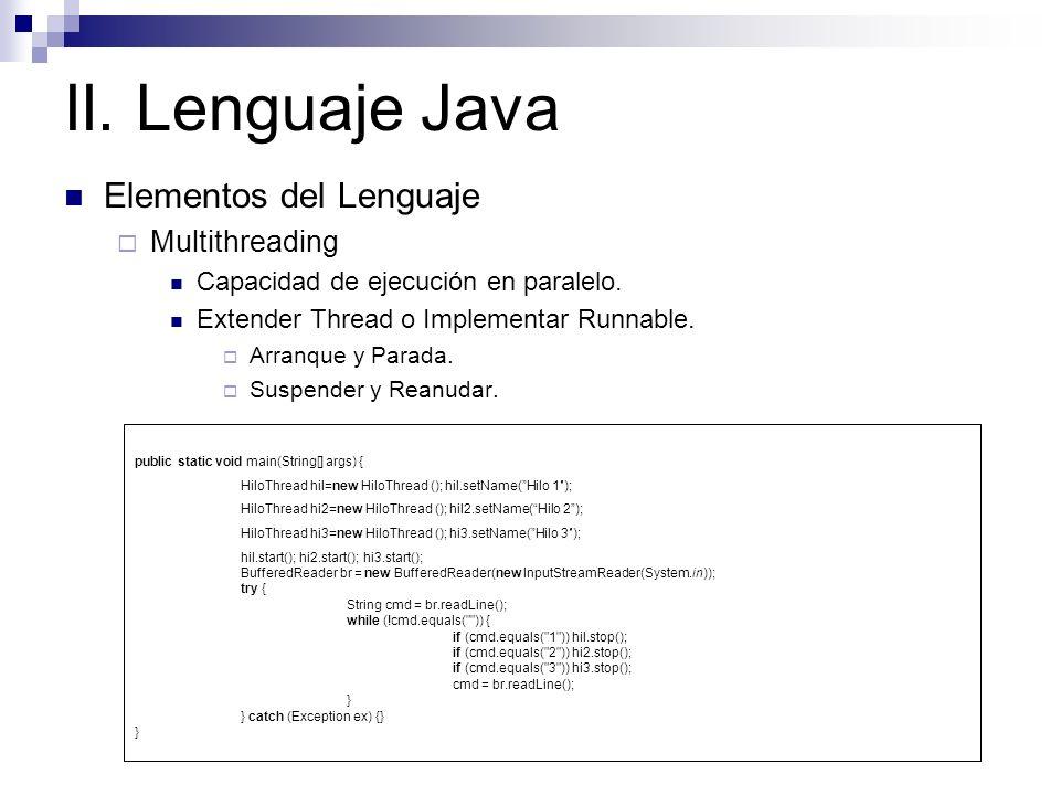 II. Lenguaje Java Elementos del Lenguaje Multithreading