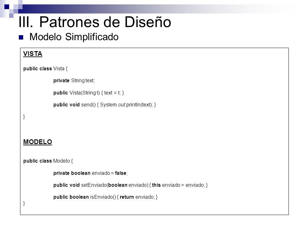 III. Patrones de Diseño Modelo Simplificado VISTA MODELO