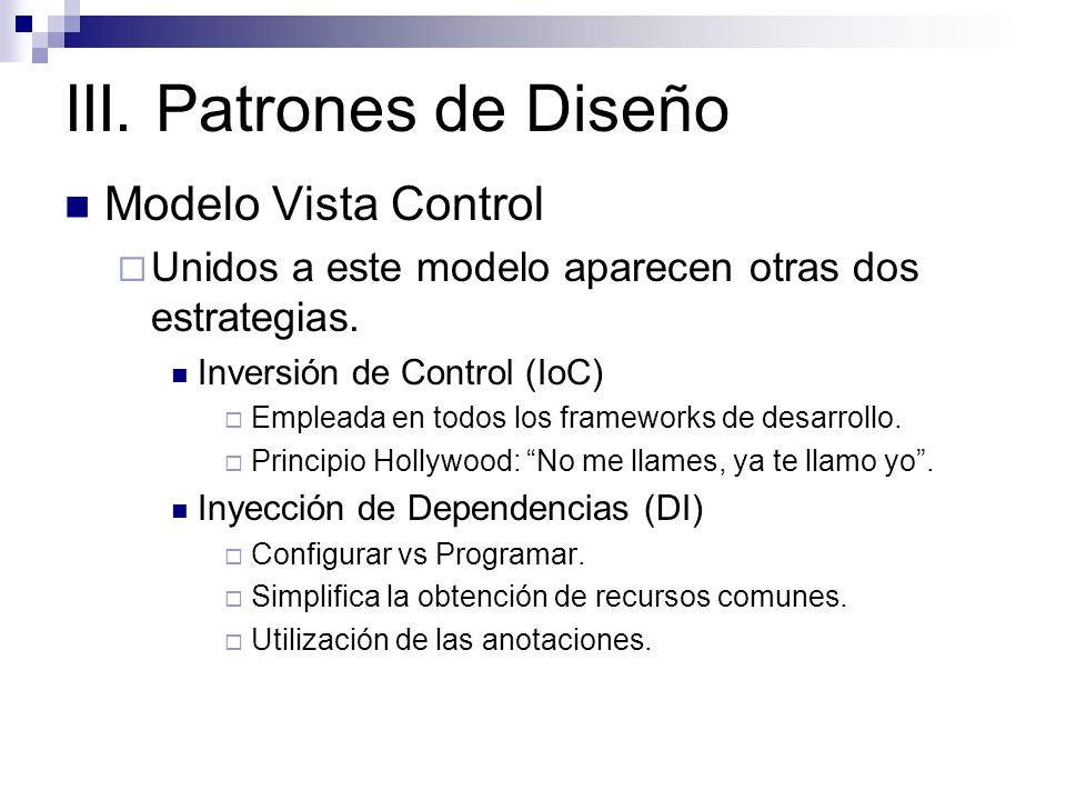 III. Patrones de Diseño Modelo Vista Control