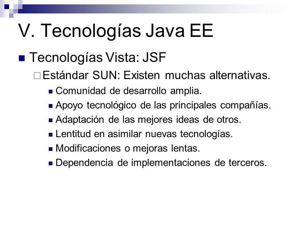 V. Tecnologías Java EE Tecnologías Vista: JSF