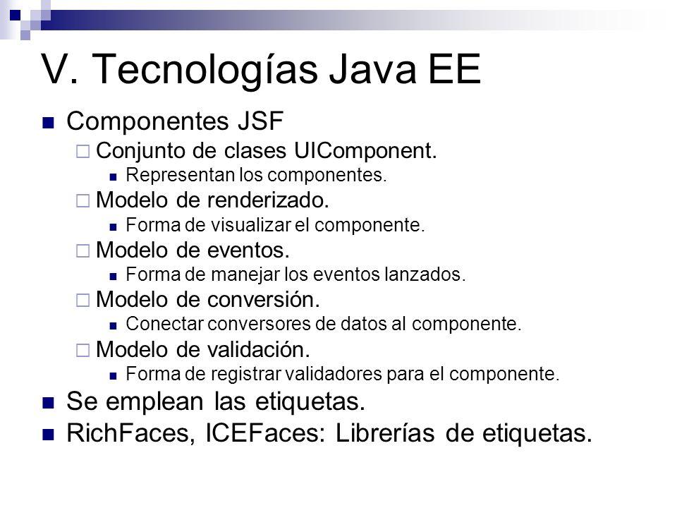 V. Tecnologías Java EE Componentes JSF Se emplean las etiquetas.