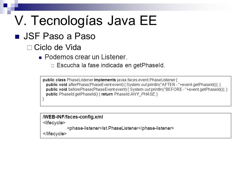 V. Tecnologías Java EE JSF Paso a Paso Ciclo de Vida