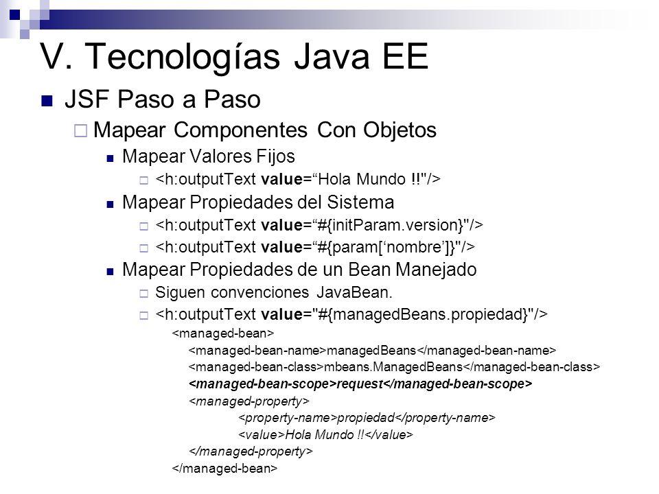V. Tecnologías Java EE JSF Paso a Paso Mapear Componentes Con Objetos