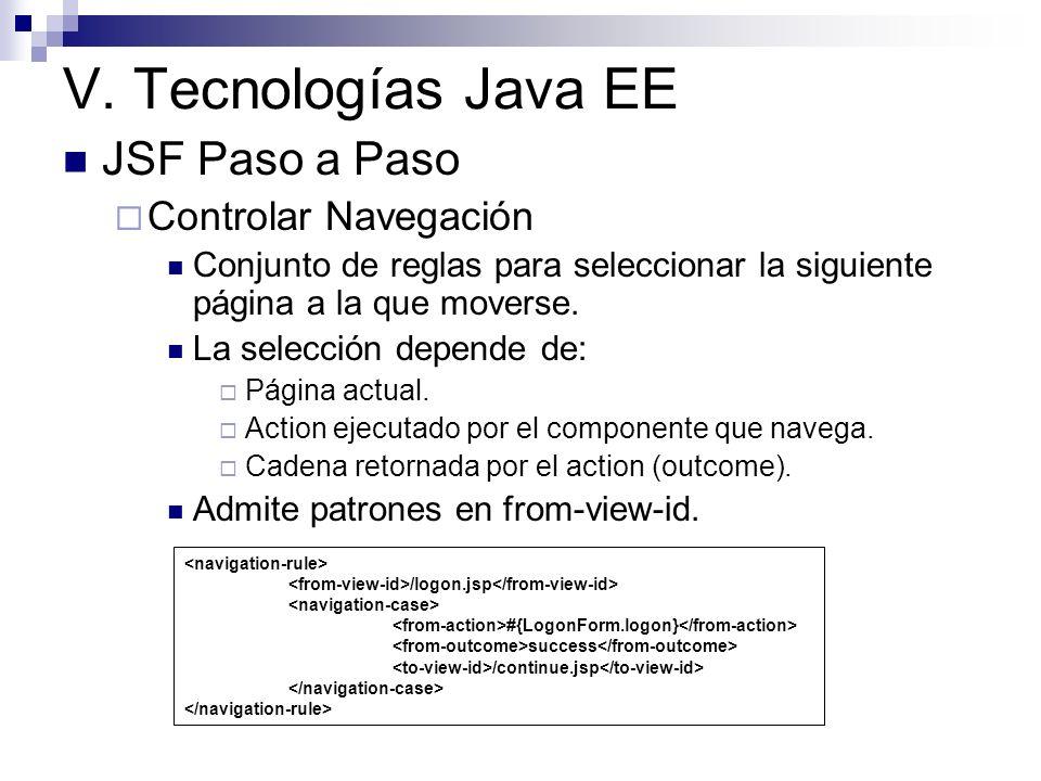 V. Tecnologías Java EE JSF Paso a Paso Controlar Navegación