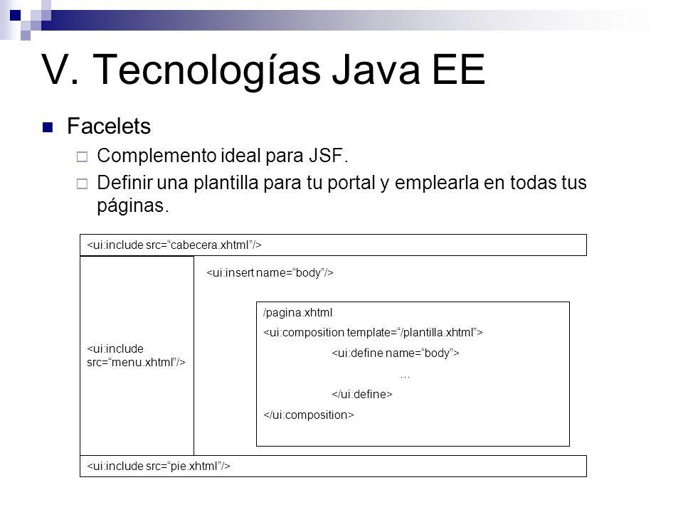 V. Tecnologías Java EE Facelets Complemento ideal para JSF.