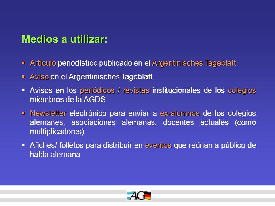 Medios a utilizar: Artículo periodístico publicado en el Argentinisches Tageblatt. Aviso en el Argentinisches Tageblatt.