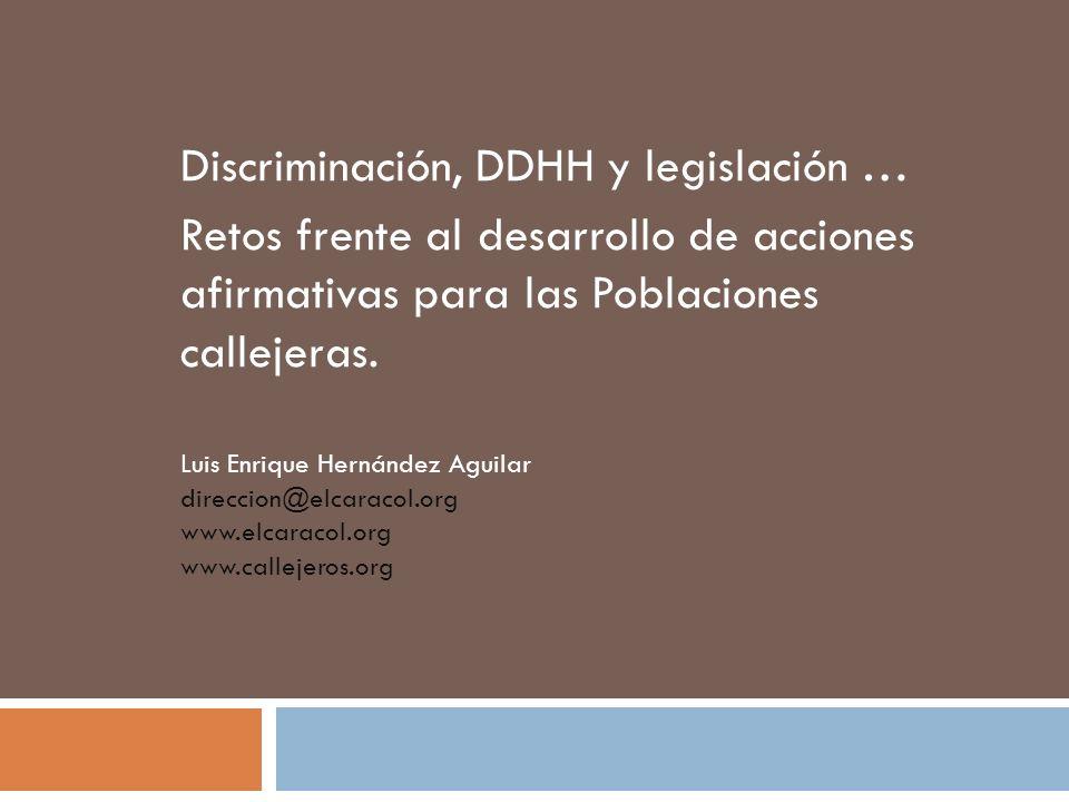 Discriminación, DDHH y legislación …