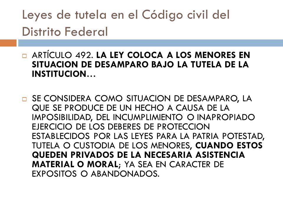 Leyes de tutela en el Código civil del Distrito Federal