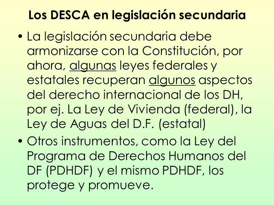 Los DESCA en legislación secundaria