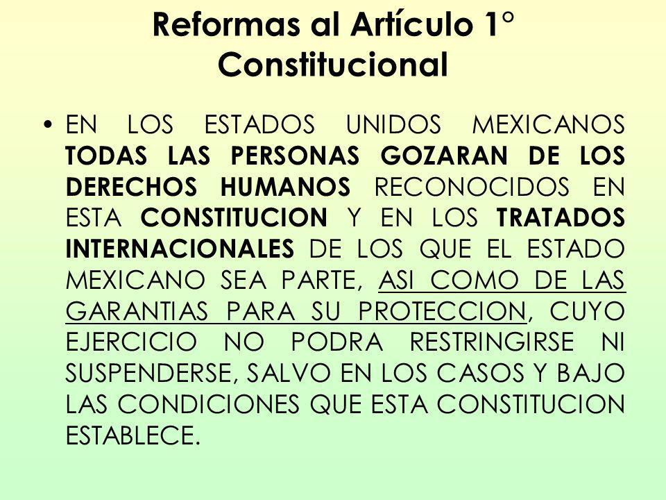 Reformas al Artículo 1° Constitucional