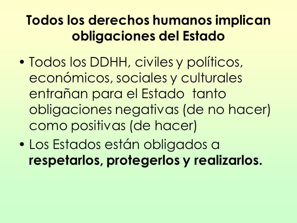 Todos los derechos humanos implican obligaciones del Estado