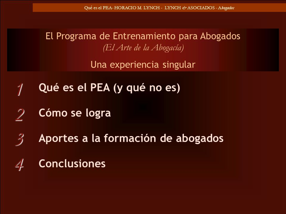 1 2 3 4 Qué es el PEA (y qué no es) Cómo se logra