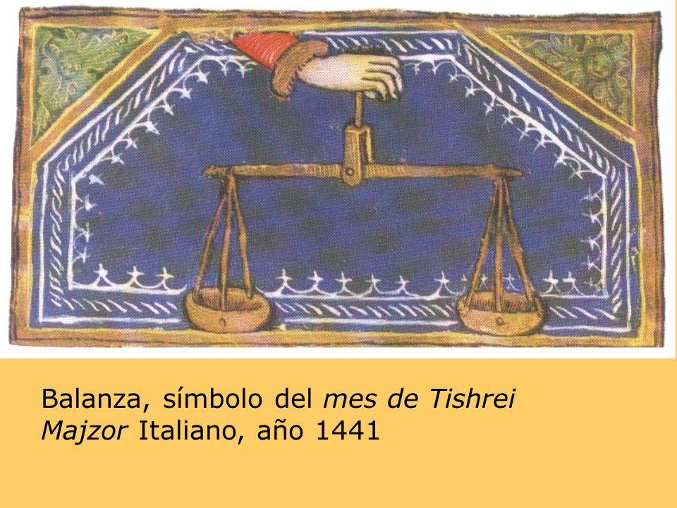 Balanza, símbolo del mes de Tishrei Majzor Italiano, año 1441