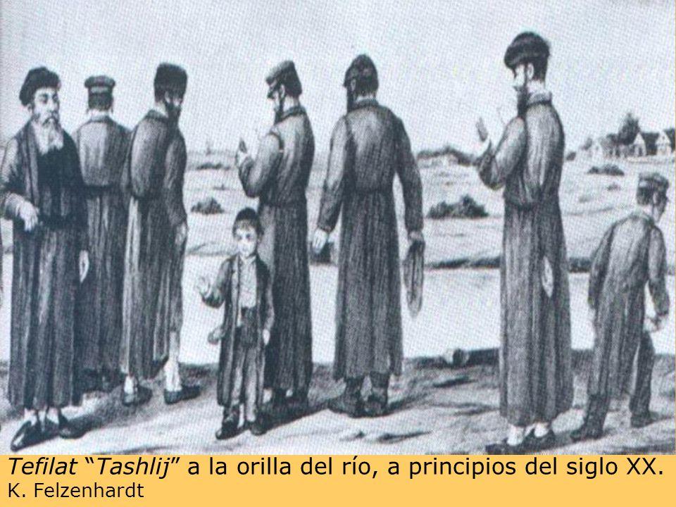 Tefilat Tashlij a la orilla del río, a principios del siglo XX. K