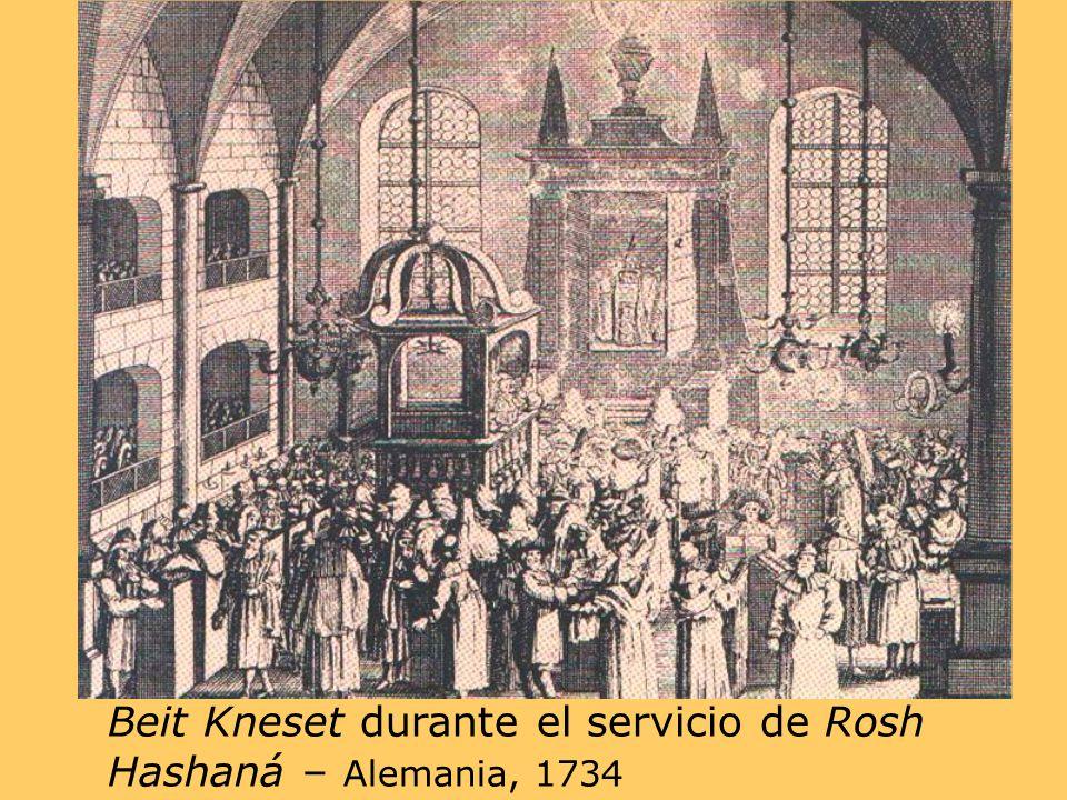 Beit Kneset durante el servicio de Rosh Hashaná – Alemania, 1734