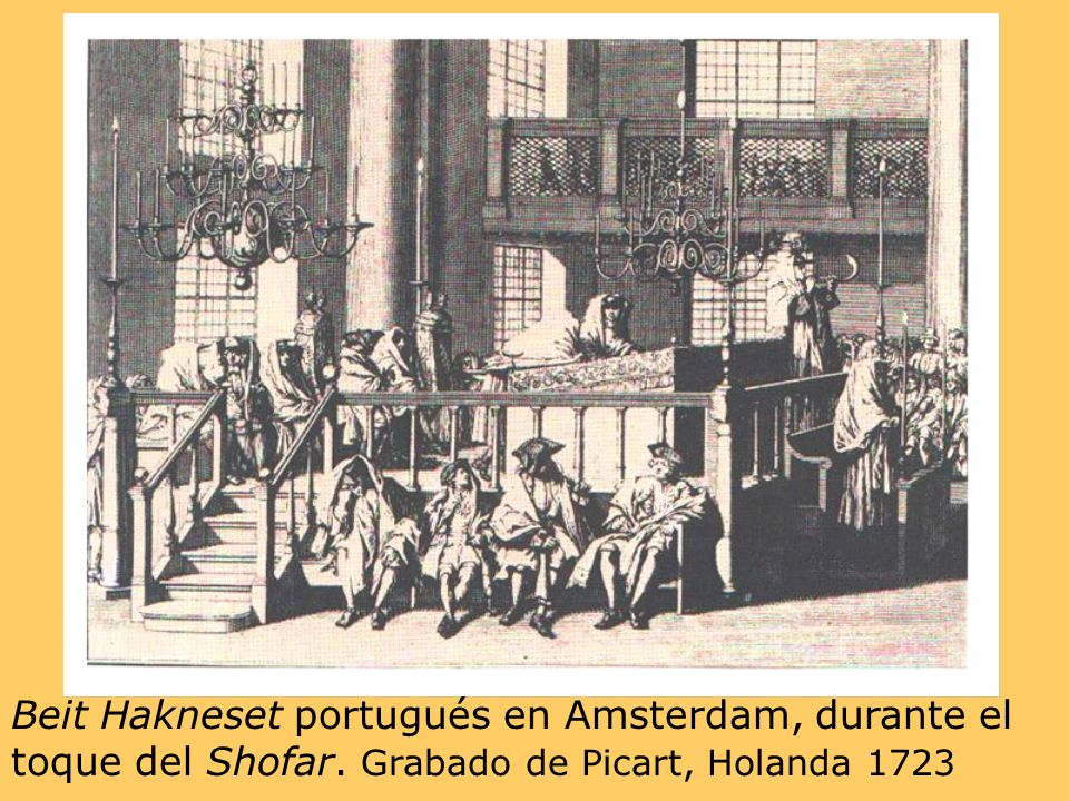 Beit Hakneset portugués en Amsterdam, durante el toque del Shofar